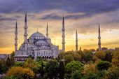 Blue Mosque Sultanahmet, Istanbul, Turkey, On Sunset poster