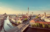 Aerial View Of Berlin Skyline With Spree River In Summer, Germany poster