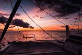 Sailing Yacht Catamaran Sailing In The Sea. Sailboat. Sailing. poster