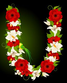picture of alphabet letters  - letter for signs with flowers and bird on a background for a design - JPG