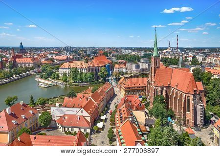 Aerial Cityscape Of Wroclaw With