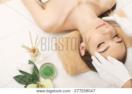 poster of Spa. Face Massage. Spa Skin And Body Care. Close-up Of Young Woman Getting Spa Massage Treatment At