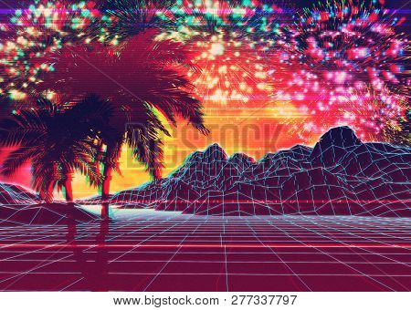 Neon Glowing Grid Rocks And