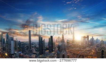 Dubai sunset panoramic view of