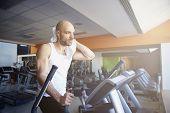 Man Doing Cardio Training On Treadmill poster