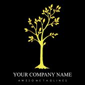 Luxury Gold Tree With Leaves Logo. Herbal Leaf , Ecology, Natural, Organic Label Or Logo, Tree Vecto poster