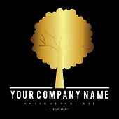 Gold Silhouette  Tree With Leaves Logo. Ecology, Natural, Organic Label Or Logo, Tree Vector Illustr poster