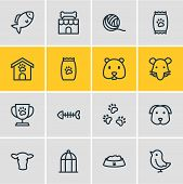 Vector Illustration Of 16 Zoo Icons Line Style. Editable Set Of Fish Bone, Pet Shop, Kibble And Othe poster