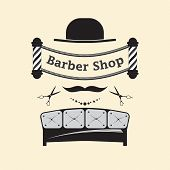 Signboard For A Hairdresser And Barbershop Salons On A White Background. Logo With Hair Salon Access poster