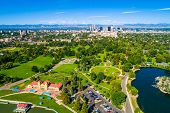 Green Summer Cityscape Above City Park , Lake , And Green Spaces Denver , Colorado , With Skyline Ci poster