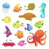 Underwater Animals. Ocean Sea Animals Fish Octopus Turtle Seahorse Vector Characters. Sea Marine Fis poster