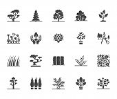 Trees Flat Glyph Icons Set. Plants, Landscape Design, Fir Tree, Succulent, Privacy Shrub, Lawn Grass poster