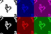 Heart - Violin And Bass Clef - Seamless Pattern, Bass And Treble Clef, Heart ( Black, Red, White, Bl poster