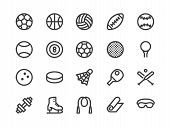Sports Equipment Line Icon. Vector Illustration Flat Style. Included Icons As Sport Balls, Basketbal poster