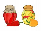 Collection Of Different Objects. Glass Jars With Home Made Peppers And Chilli. Hand Drawn Objects Is poster