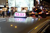 Night Time Taxi On Hongkong Streets Blured Background Photo poster