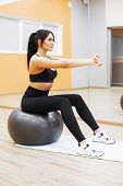 Fitness. Beautiful Woman Smiling Face Enjoy Work Out With Fit Ball In Fitness - Sport And Lifestyle  poster