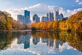 Atlanta, Georgia, USA Piedmont Park skyline in autumn on Lake meer. poster
