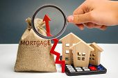A Bag With Money And The Inscription Mortgage And Up Arrow. Raising Mortgage Rates And Tax. The Incr poster