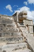 picture of snakehead  - ancient stone temple with snake head in mayan historical site - JPG