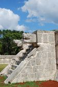 image of snakehead  - ancient stone temple with snake head in mayan historical site - JPG