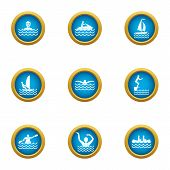 Recreation Water Icons Set. Flat Set Of 9 Recreation Water Icons For Web Isolated On White Backgroun poster