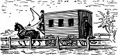 stock photo of stagecoach  - Old coach and horse going in the country - JPG