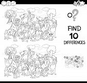 Black And White Cartoon Illustration Of Finding Ten Differences Between Pictures Educational Game Fo poster