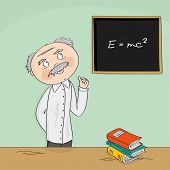 Wise Old Academic Professor Teaching In Front Of The Black Board. College Class Or University Teache poster