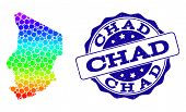 Dot Spectrum Map Of Chad And Blue Grunge Round Stamp Seal. Vector Geographic Map In Bright Spectrum  poster