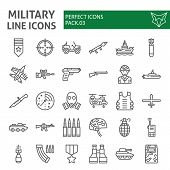 Military Line Icon Set, Army Symbols Collection, Vector Sketches, Logo Illustrations, War Signs Line poster