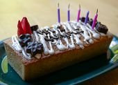 Homemade Happy Birthday Cake With Words In Spanish Made Of Chocolate Feliz Cumpleaños poster