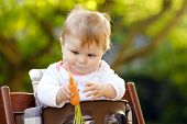 Cute Adorable Baby Girl Holding And Eating Fresh Carrot. Beatuiful Child Having Healthy Snack. Baby  poster