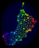 Glamour Spectrum Mesh Vector Map Of Oman With Glare Effect. Abstract Lines, Triangles, Light Spots F poster