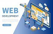 Web Development, Developers Optimizations Of Sites Vector. Programming Of Application, Script Writin poster