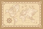 Classic Style Of World Map With Compass And Ornamental Frame In Brown Monochrome poster