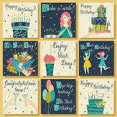 Birthday Cards Set. Birthday Cake With Candles And Congratulations Lettering. Girl Making A Wish. Ha poster