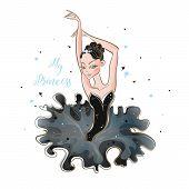 Little Ballerina. Young Princess. Girl In A Tutu. My Princess. Inscription. Vector. poster
