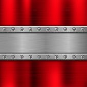 Metal Background With Iron Plate With Rivets. Vector 3d Illustration poster