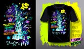New York, City, American Liberty, Freedom, Monument. Trendy T-shirt Template, Fashion T Shirt Design poster