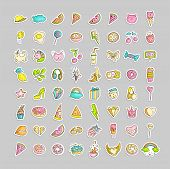 Cute Funny Girl Teenager Colored Icon Set, Fashion Cute Teen And Princess Icons - Pizza, Unicorn, Ca poster