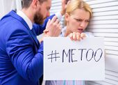 Manager Conflict. Businessman Sexually Harassing Female Colleague. Me Too Social Movement. Metoo As  poster