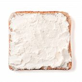 Bread Slice Plaster Soft Curd Cheese Isolated On White, Clipping Path. Slice Of Multigrain Bread Squ poster