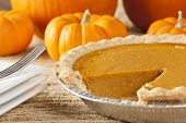stock photo of pumpkin pie  - Fresh Homemade Pumpkin Pie made for Thanksgiving