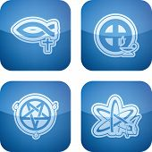 stock photo of jainism  - Religion is the adherence to codified beliefs and rituals, pictured here from left to right: 