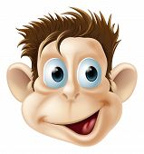 image of ape-man  - Cartoon illustration of a laughing happy monkey face - JPG