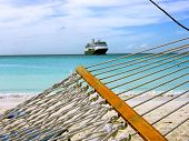 image of cruise ship  - a hammock swinging in the tropical breeze - JPG