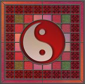 Stained Glass Panel with center yin yan symbol poster