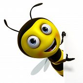 stock photo of bee cartoon  - 3 d cartoon cute honey bee toy - JPG