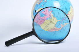 picture of usa map  - Conceptual image of a magnifying - JPG